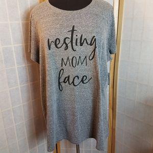 Torrid Plus Size 4 Grey Tshirt Resting Mom NWT